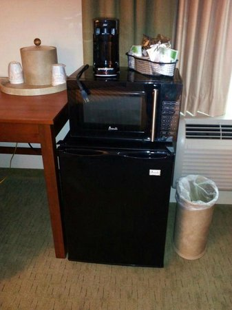 Hampton Inn & Suites Salem:                                     Mini fridge and microwave on loan to King Bedroom