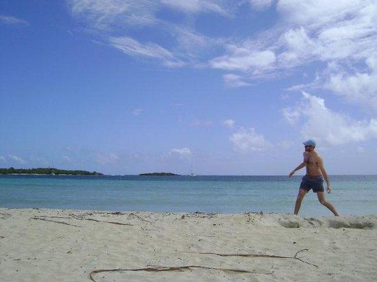 Frisbeeing on Blue Beach