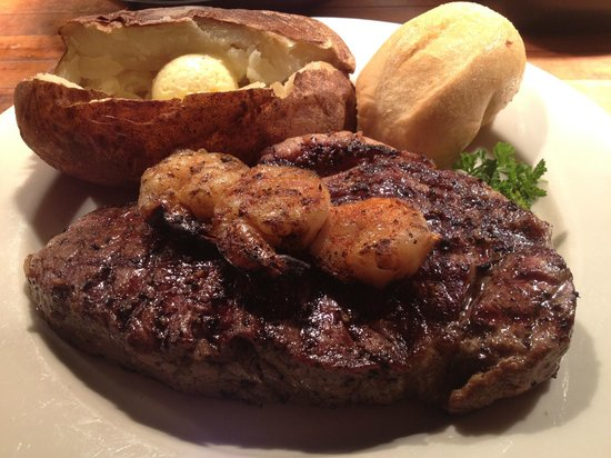 Harvey's:                   Mesquite Grilled New York Strip with Cajun Shrimp Skewer