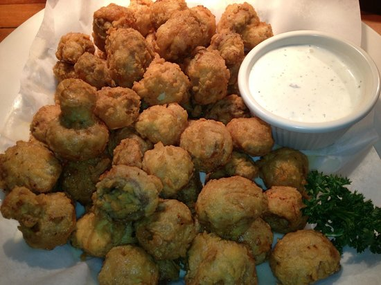 Harvey's :                   Hand battered fried mushrooms