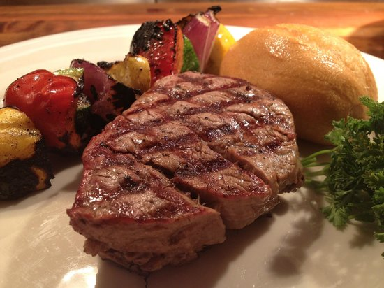 Harvey's :                   Mesquite Grilled Filet Mignon with Grilled Vegetable Skewer