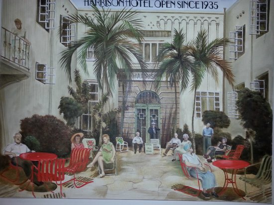 Harrison Hotel :                   painting of the harrison back in the 30's