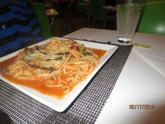 Titi Panini Pasta & Salad Bar:                                                       Pasta with Eggplant