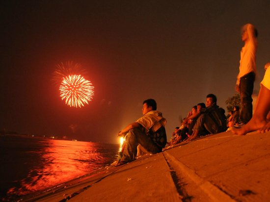 River-Star Hotel :                   River fireworks right across from River-view Hotel. Phnom Penh, Cambodia
