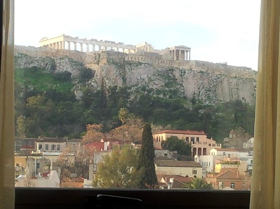Plaka Hotel :                   Acropolis as taken  while laying in bed