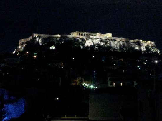 Plaka Hotel:                   Acropolis at night seen from the room.
