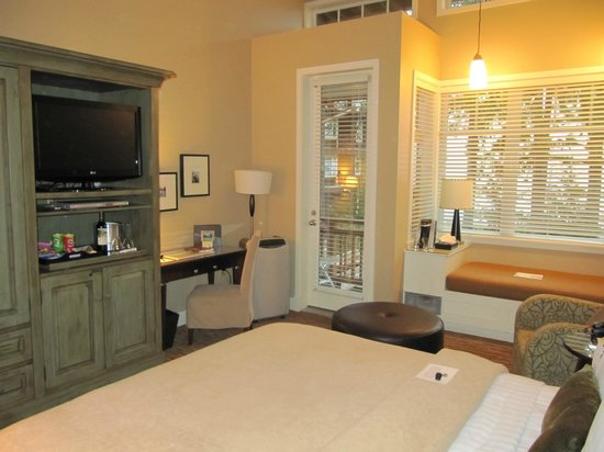 Alderbrook Resort & Spa:                   Suite desk area and door to a very small balcony.