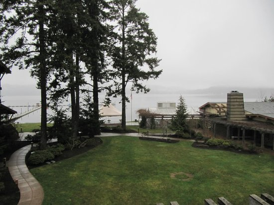 Alderbrook Resort & Spa :                   View of a foggy Hood Canal.