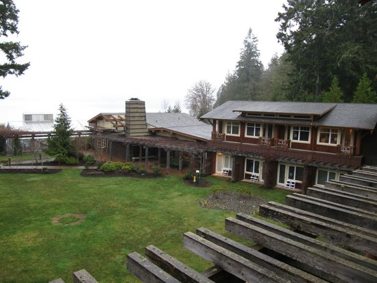 Alderbrook Resort & Spa :                   View from room looking towards the Spa & a foggy Hood Canal
