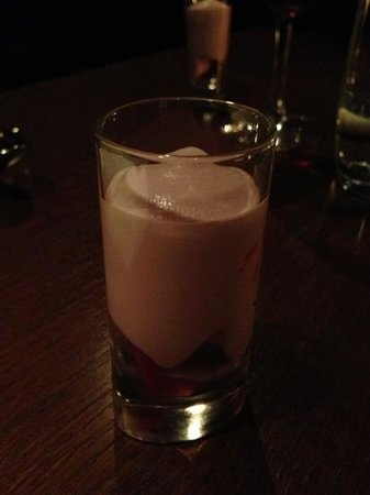 Abovo Restaurant:                   wild strawberry topped with rose water foam
