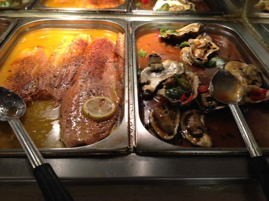 Kings Buffet:                   Salmon and black bean sauce oysters