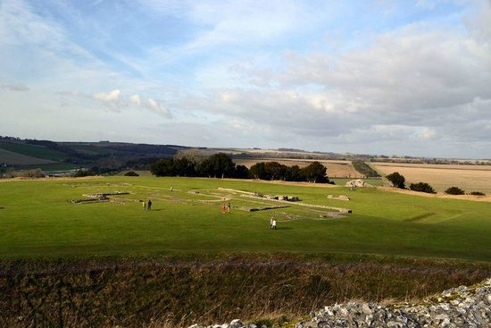 Old Sarum:                   cathedral ruins from fortress hilltop