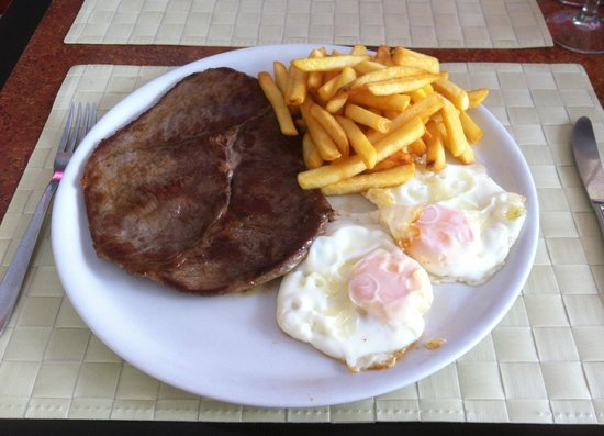 Cafeteria Cibeles:                   Meat with fried eggs & chips
