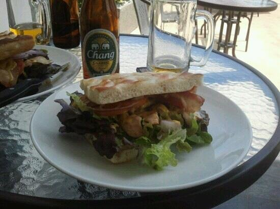 Lucky 13 Sandwich :                   chicken and bacon with carry dressing, a tasty sandwich. very good