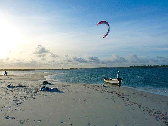 Mwazaro Beach Mangrove Lodge: Kitesurfing right in front of the Lodge