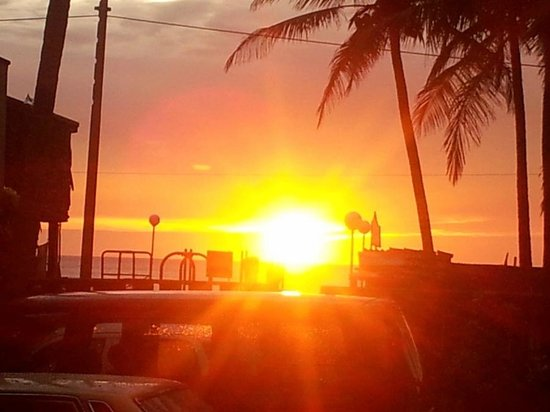 Ocean View Tour Inn:                   Sunset seen from the lobby