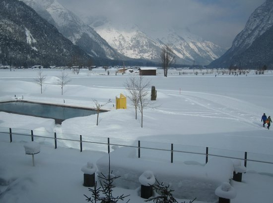 Hotel Quellenhof:                   View of the 25 mtr pool from the library