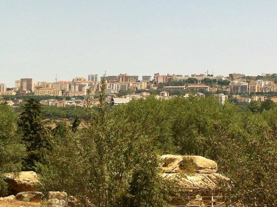 Tempio di Giove Olimpico:                   panoramic view from the ruins to the city of Agrigento