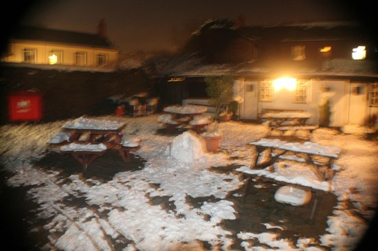 Wynnstay Arms Hotel: Beer Garden covered in snow