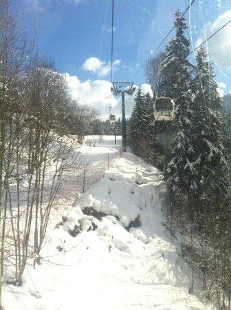 Mont d'Arbois Ski Area:                   On the telecabine