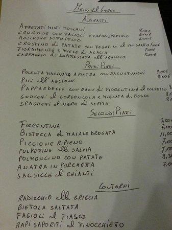 Menu Del Giorno 16022013 Picture Of Osteria Del Gatto Siena