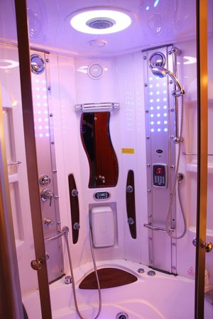 Golden Central Hotel:                   A super futuristic-looking shower contraption that looked ready for time-trave
