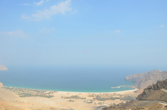 Six Senses Zighy Bay:                   view of resort from paragliding take off point...
