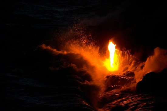 Kalapana Cultural Tours:                   Ocean entry after nightfall