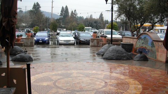 A couple of fountains in front of Toast (looking out from Toasts) in Novato.