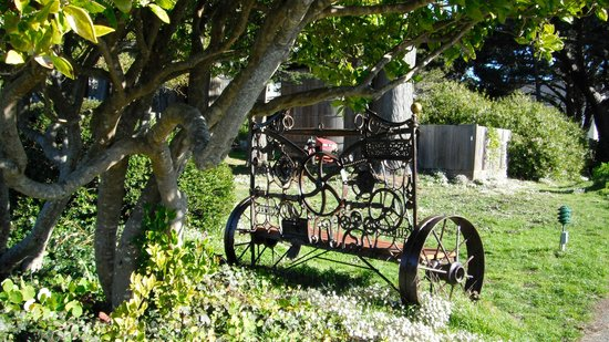 Here's an artistically made bench in the Mendocino Art Center garden.