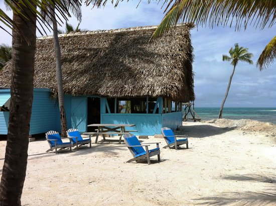 Long Caye Resort:                   Outside view of dining area