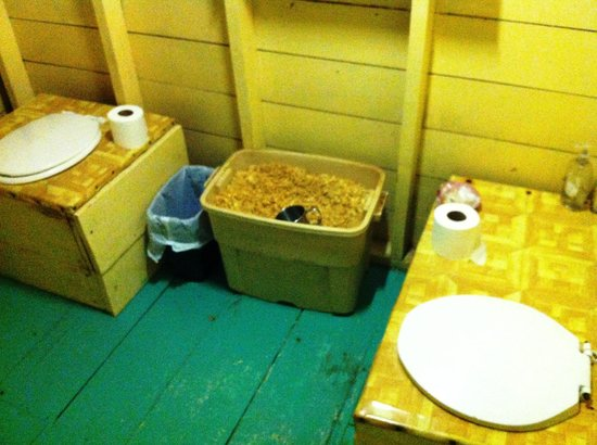 Long Caye Resort:                   Composting Toilet: 1 for liquids, 1 for solids!