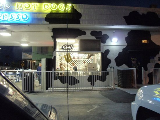 Moo's Soft Serve:                                     The guy working there never lowered his cell phone the entir
