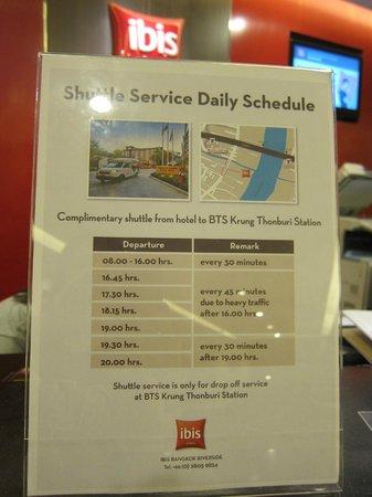 ibis Bangkok Riverside:                   Shuttle schedule