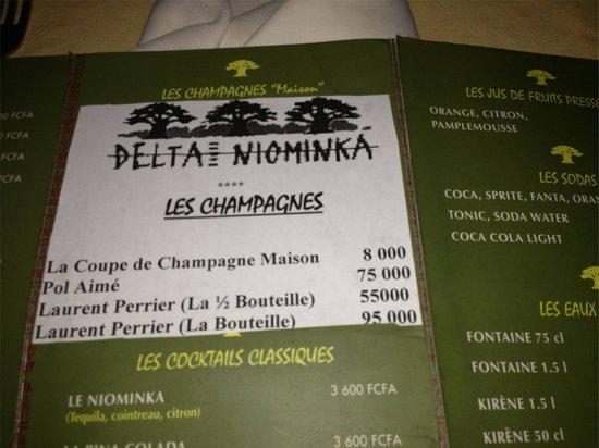 Lodge du Delta Niominka :                   Carte restaurant