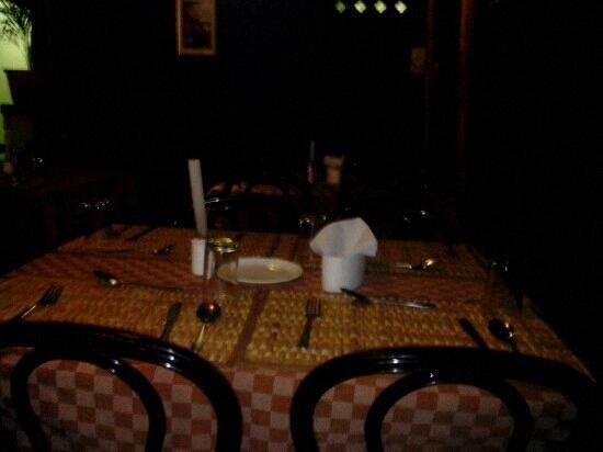 Spice Garden Restaurant:                   dinner table