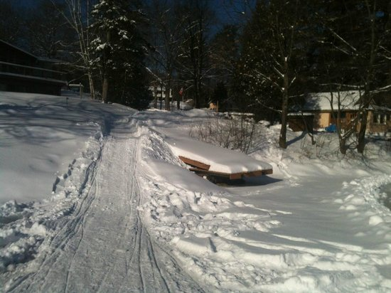 Loralea Country Inn Resort:                   Our sled access from Halls Lake up to the cottage.