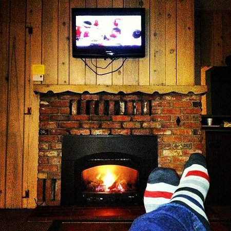 Alpenhof Lodge:                   Relaxing in front of the fire and watching the game