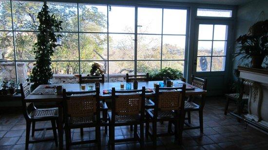 Cherry Valley Ranch B & B:                                     breakfast table setup with orange juice coffee yogurt