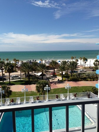 Beachview Hotel:                   View from #503 of Gulf water & pool below
