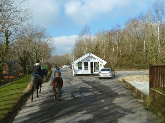 Chudleigh, UK:                   Main road into Finlake Holiday Park .