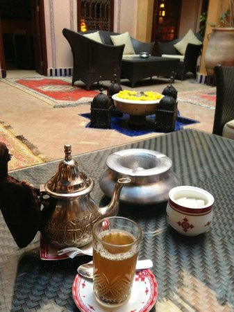 La Maison Arabe:                   Having tea and relaxing at the Courtyard