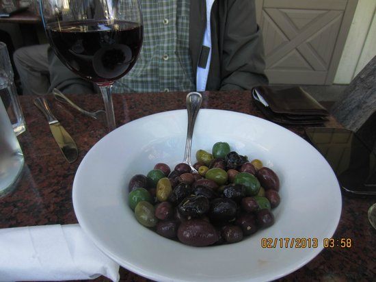 Los Olivos Wine Merchant & Cafe:                   A Glass of Pinot and a plate of marinated olives
