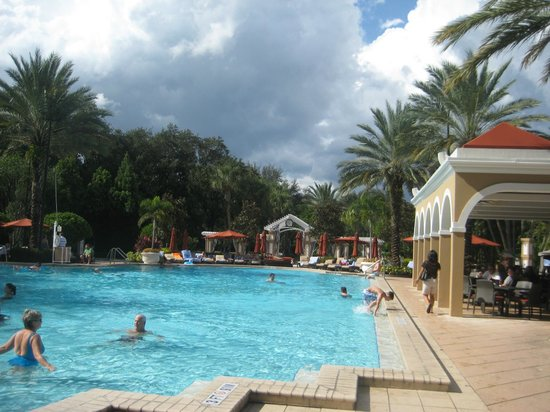 Renaissance Orlando at SeaWorld:                   Main pool area with Palms Grill & Pool Bar to the right