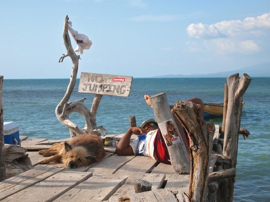 Relaxng At Pelican Bar Off The Coast Of Treasure Beach Jamaica