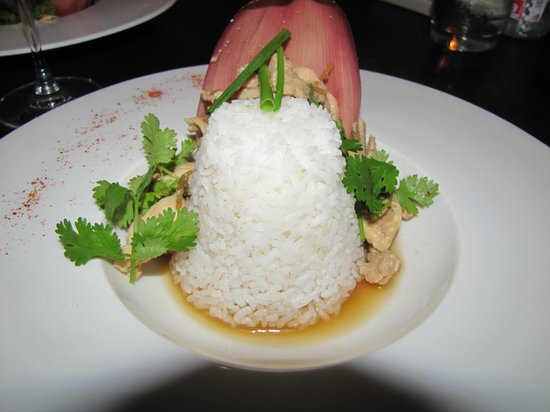 Tangor:                   chicken entree, served in a banana flower petal