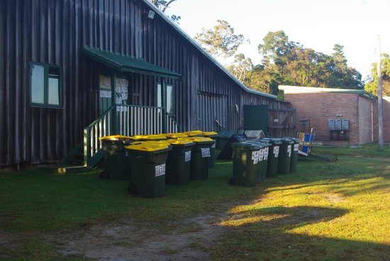 Walpole, Australia:                   Smelly over flowing bins right out the front of toilets and the Barn
