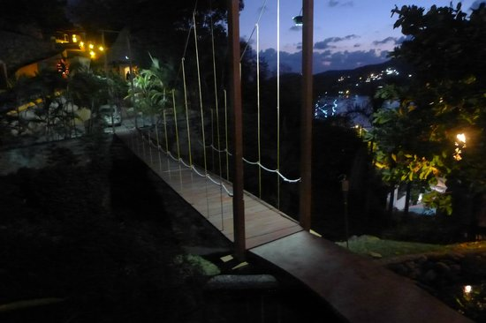 Casa Cuitlateca:                   Suspension bridge from the top of the driveway