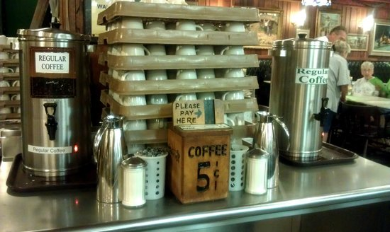 Wall Drug Store Cafe:                   Coffee still 5-cents per cup on the honor system