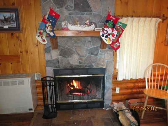 Bearskin Lodge:                   Fireplace in Cabin #1